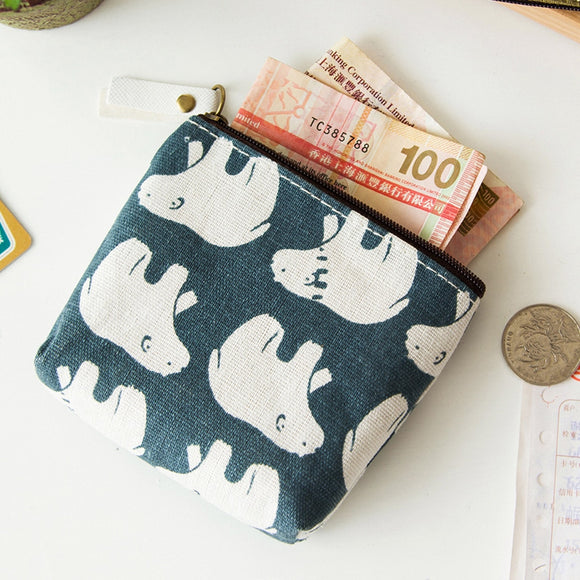 Mini Change Coin Purse Small Fresh Animal Canvas Bag Zipper Wallets for gift