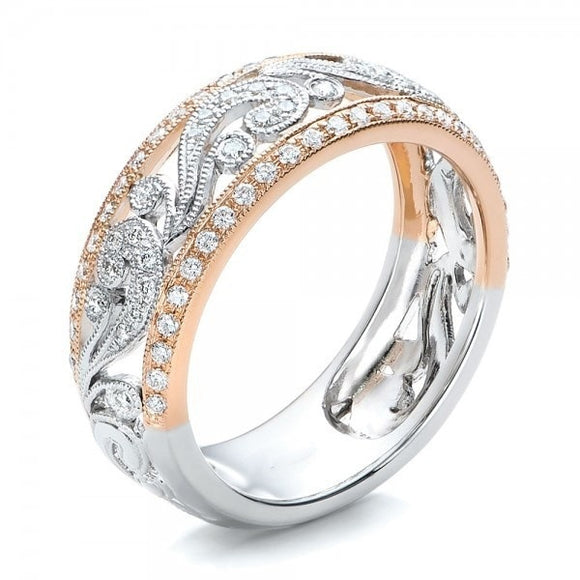 Hollow Two-tone Color Rose Gold Flower Cubic Zirconia Ring for Female
