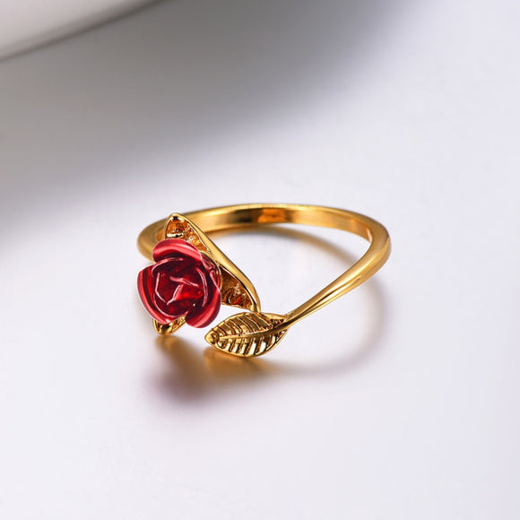 Red Rose Garden Flower Leaves Resizable Finger Rings for Women