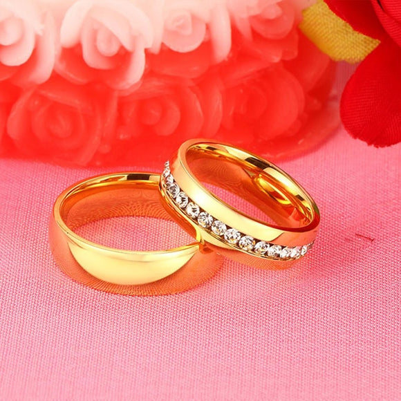 Vnox Personalized Gold-color Wedding Bands Ring for Women Men Jewelry