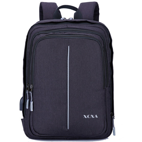 XQXA Anti-theft Backpack with USB Charging Port and Earphones Prot 15.6-17.3 Inch Laptop Notebook Men Backpack 8608 8609 Basis