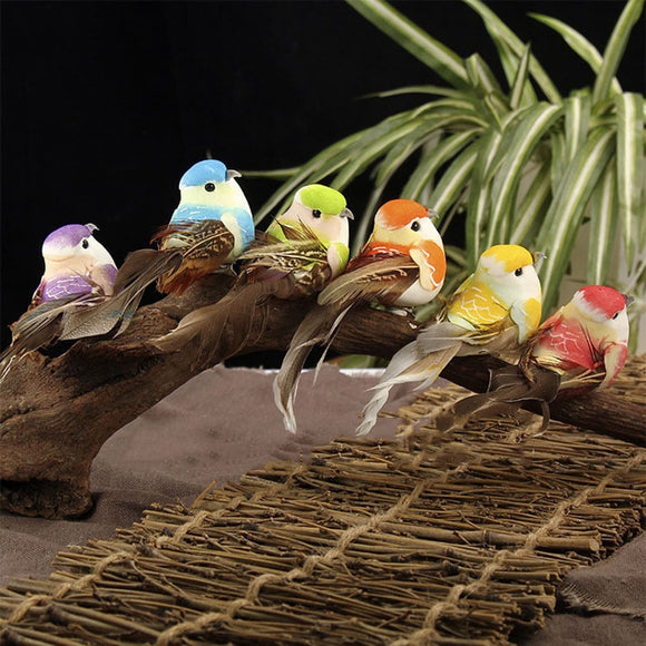Artificial Feather Bird Xmas Tree Decor Perched Woodland Birds Ornament For Birthday 6Pc