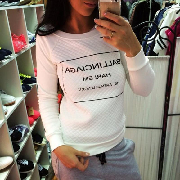 White Black fashion Women Hoody Spring Autumn Long Sleeve Casual Sweatshirts Women Letter Print Hoodies S-XL