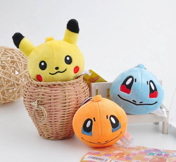 7cm Hot Selling Fashion key chains Pikachu Bulbasaur Charmander Snorlax Squirtle Keychain