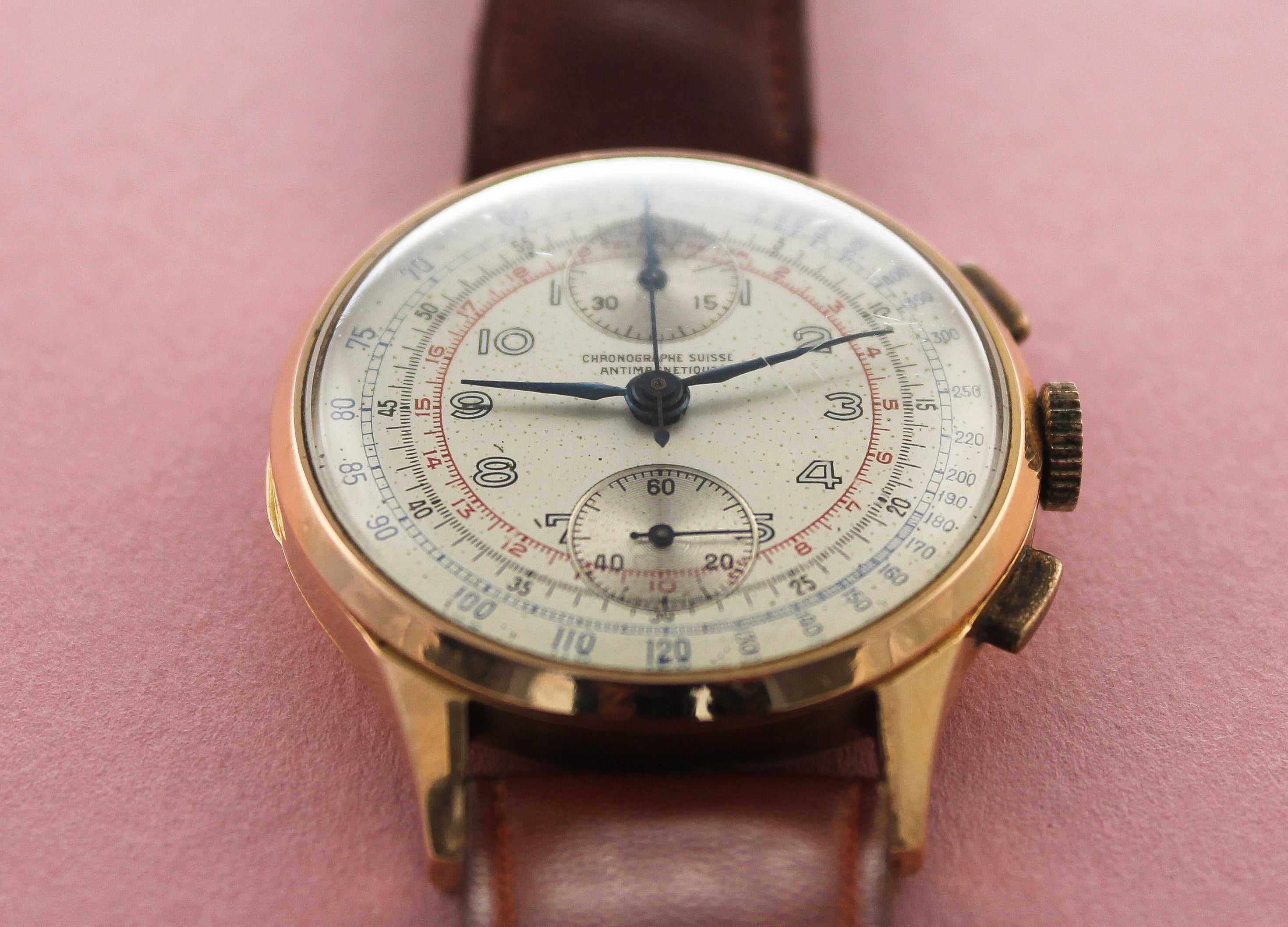 CHRONOGRAPHE SUISSE Triple Register Chronograph (c.1940s)