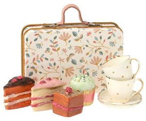 Suitcase W Cakes and Tableware for 2