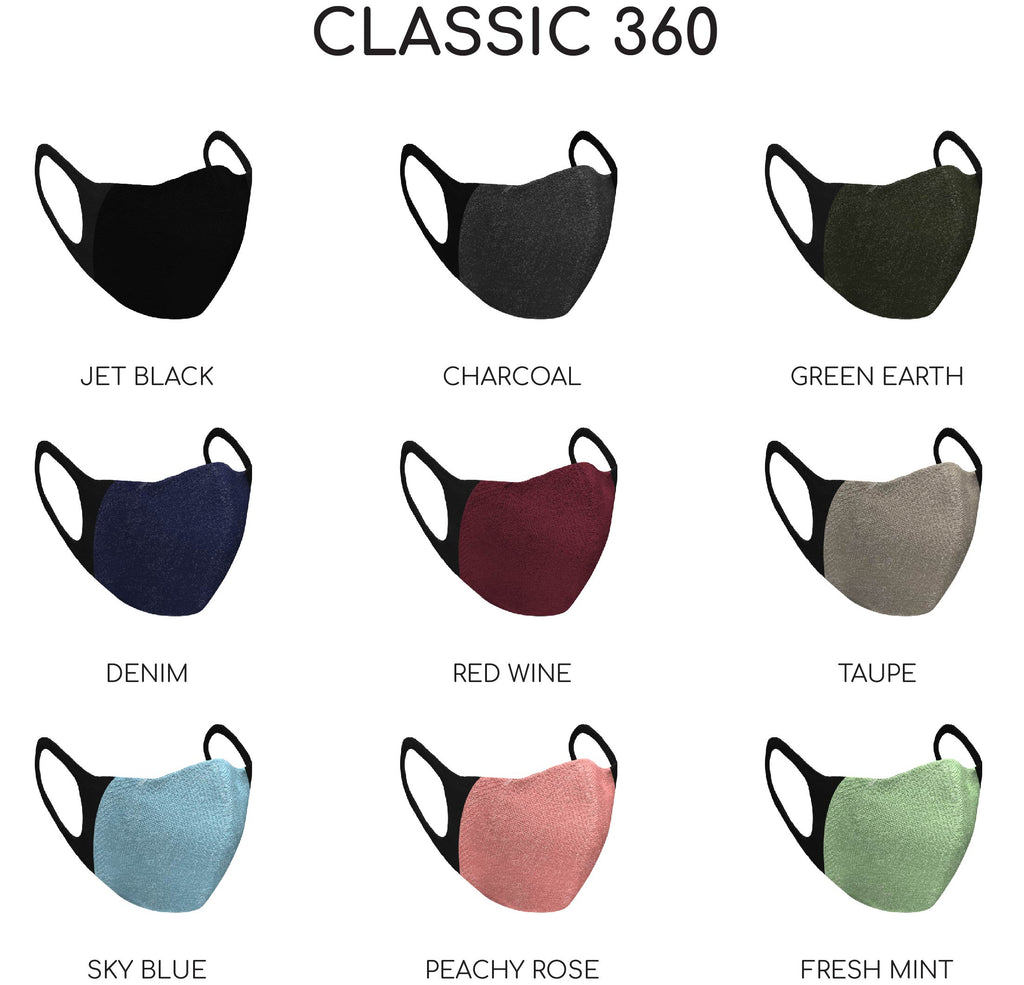 Comfortable reusable Mask with PM2.5 Filter and adjustable noseband. The family bundle includes eight masks and up to 80 premium filters.