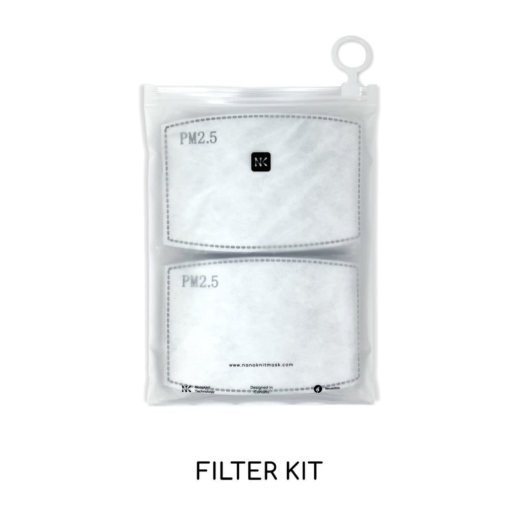 Comfortable reusable Mask with PM2.5 Filter and adjustable noseband. The twin bundle includes four masks and up to 40 premium filters.