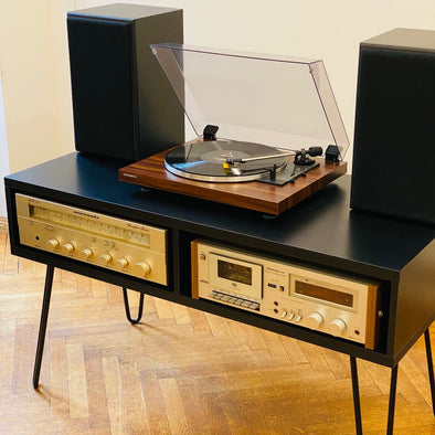 Vinyl Player (with Amp, Tape, Speakers plus Black Stander/Furniture)