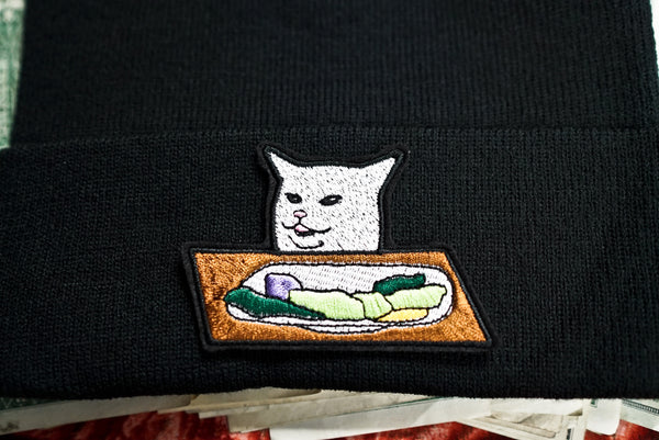 Cat from Lady Yelling at Cat Meme, Smudge The Cat, Taylor Armstrong and Kyle Richards, Embroidered Beanie Hat