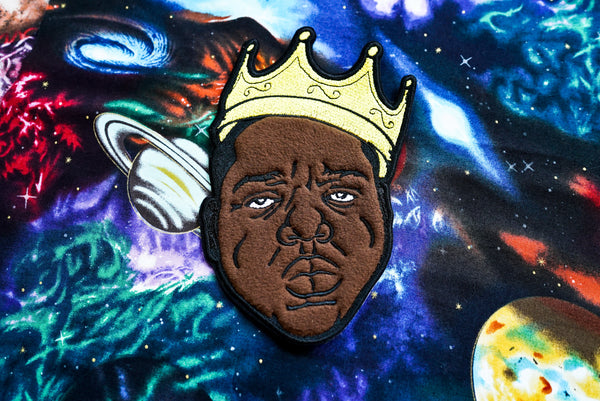 Biggie Smalls, Notorious BIG wearing a crown, LARGE Applique and Embroidered Patch