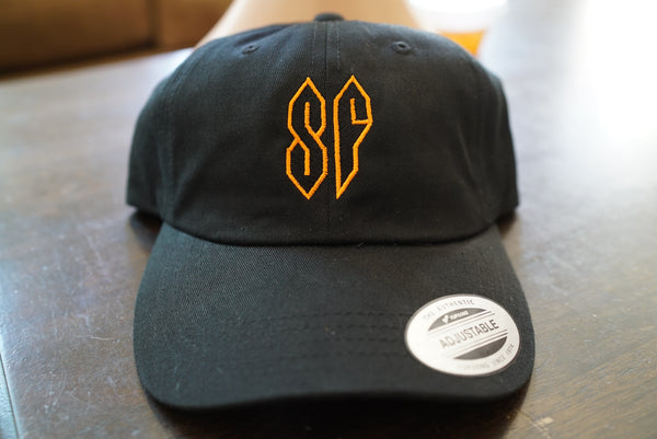 "Stussy Super S, ""SF"" in San Francisco Giants Colorway, Old School Drawing 80's-90's Vintage Embroidered Dad Hat"
