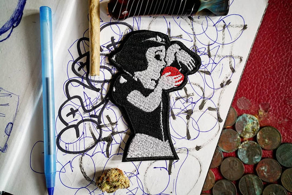 Snow White Smoking Out of an Apple Embroidered Patch