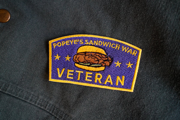 Popeye's Sandwich War Veteran Embroidered Patch