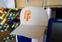 SF San Francisco Backwards Reverse Logo in Orange and Khaki, Bay Area, Nor Cal, California, Embroidered Snapback Hat