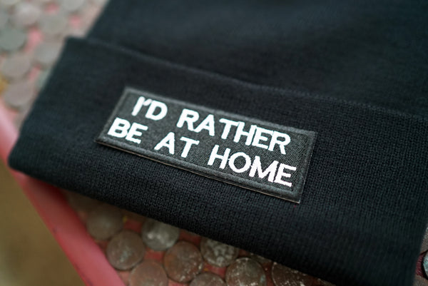 I'd Rather Be Home, Introvert, Homebody, Goth, Emo, Funny, Gamer Gift Embroidered Beanie