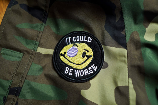 It Could Be Worse Smiley Face Embroidered Patch