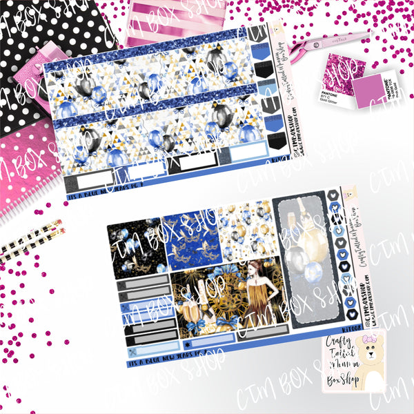 Its a Blue New Years A La Carte or Deluxe Weekly Sticker Kit, Planner Sticker Kit, Weekly Sticker Kit, EC Stickers, Planner Stickers