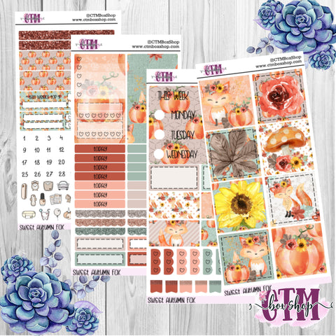 Sweet Autumn Fox PP Weeks Weekly Sticker Kit   Mini Weekly Kit   Planner Sticker Kit   Weeks Planner Kit   Weekly Sticker Kit   Planner Stickers