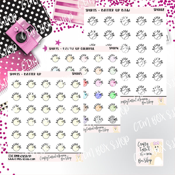 Batter Up Stickers   Baseball Stickers    Planner Stickers     Stickers   Deco Stickers Functional Stickers