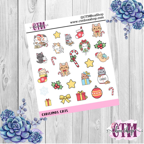 Christmas Cats deco stickers, deco stickers, Christmas stickers, planner stickers