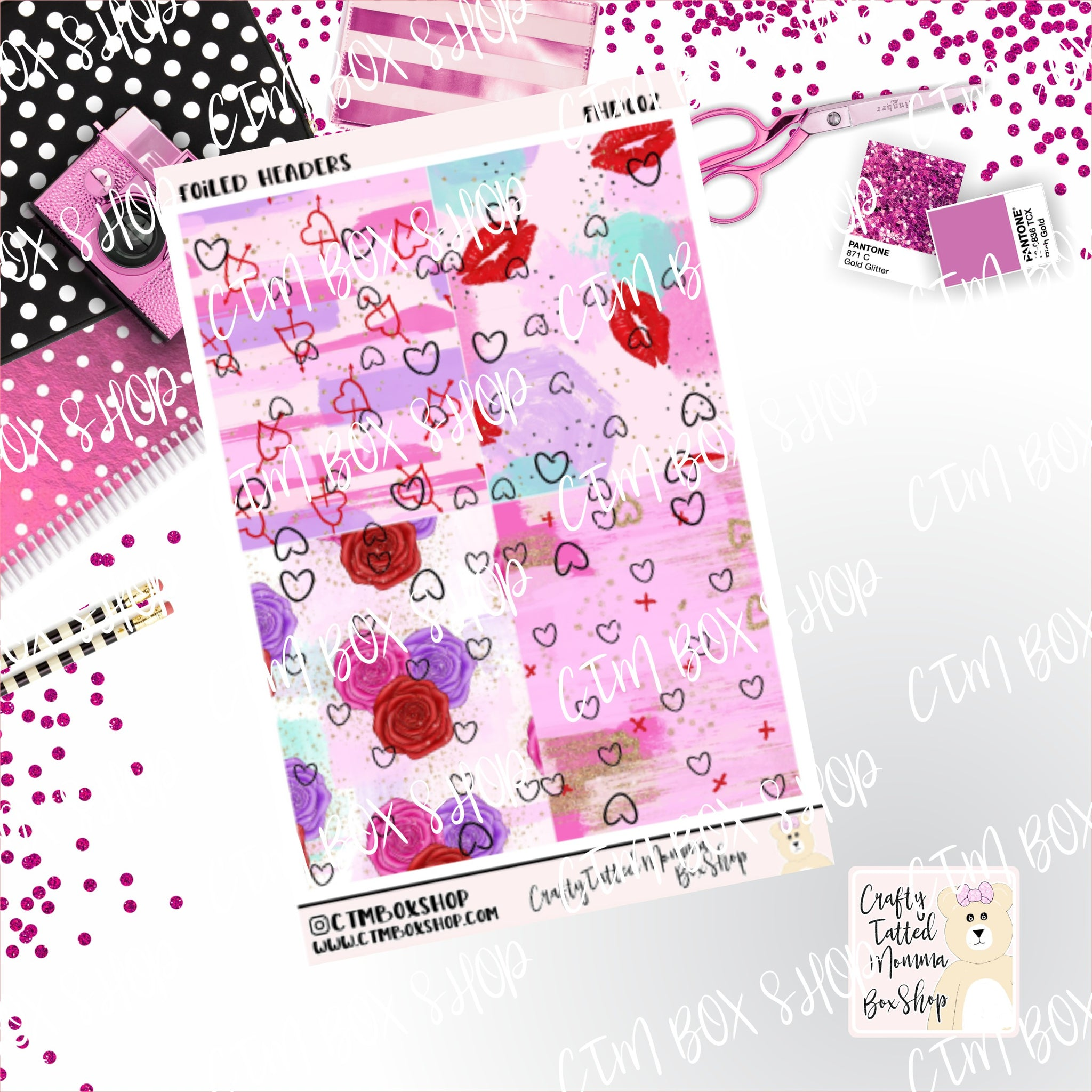 Foiled Hearts Header Stickers, foiled stickers, header stickers, planner stickers, Travelers Notbook stickers, Planner Headers