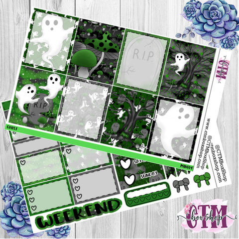 Spooky Ghost Weekly Planner Sticker Kit / Weekly sticker Kit / EC Stickers / Traveler's Notebook Stickers / Planner Stickers