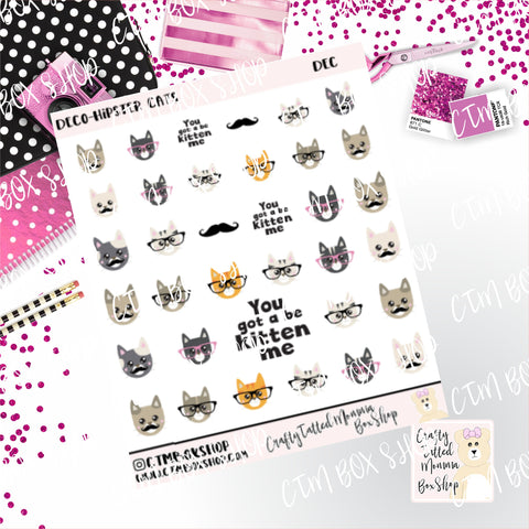 Hipster Cat Stickers, Character Stckers, Stickers, Planner Stickers,  Functional Stickers   Deco Stickers