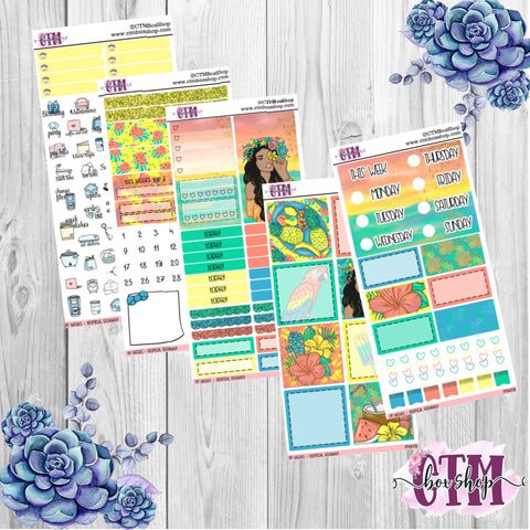 Tropical Getaway PP Weeks Weekly Sticker Kit   Mini Weekly Kit   Planner Sticker Kit   Weeks Planner Kit   Weekly Sticker Kit   Planner Stickers