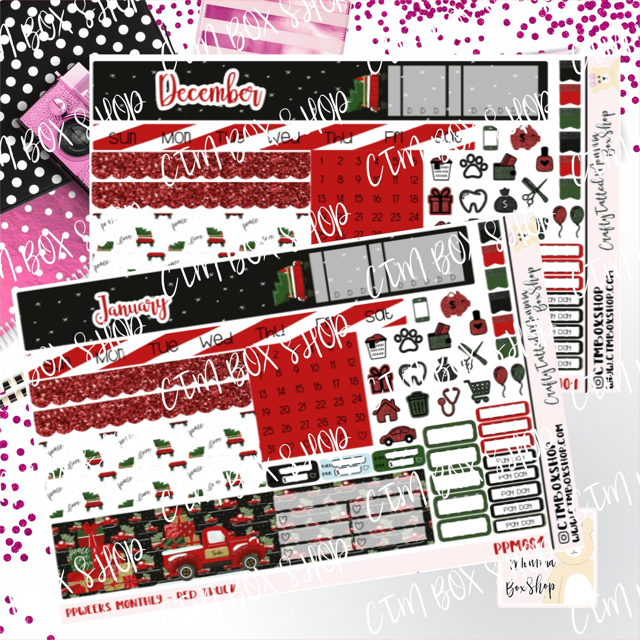 Red Truck PP Weeks Monthly Sticker Kit   Choose your month   Monthly Sticker kit   PP Weeks   Planner Stickers    Sticker Kit