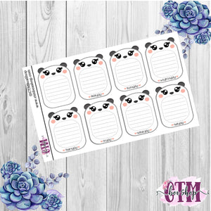 Panda Weekly Boxes Stickers   Planner Stickers   Functional Stickers Deco Stickers