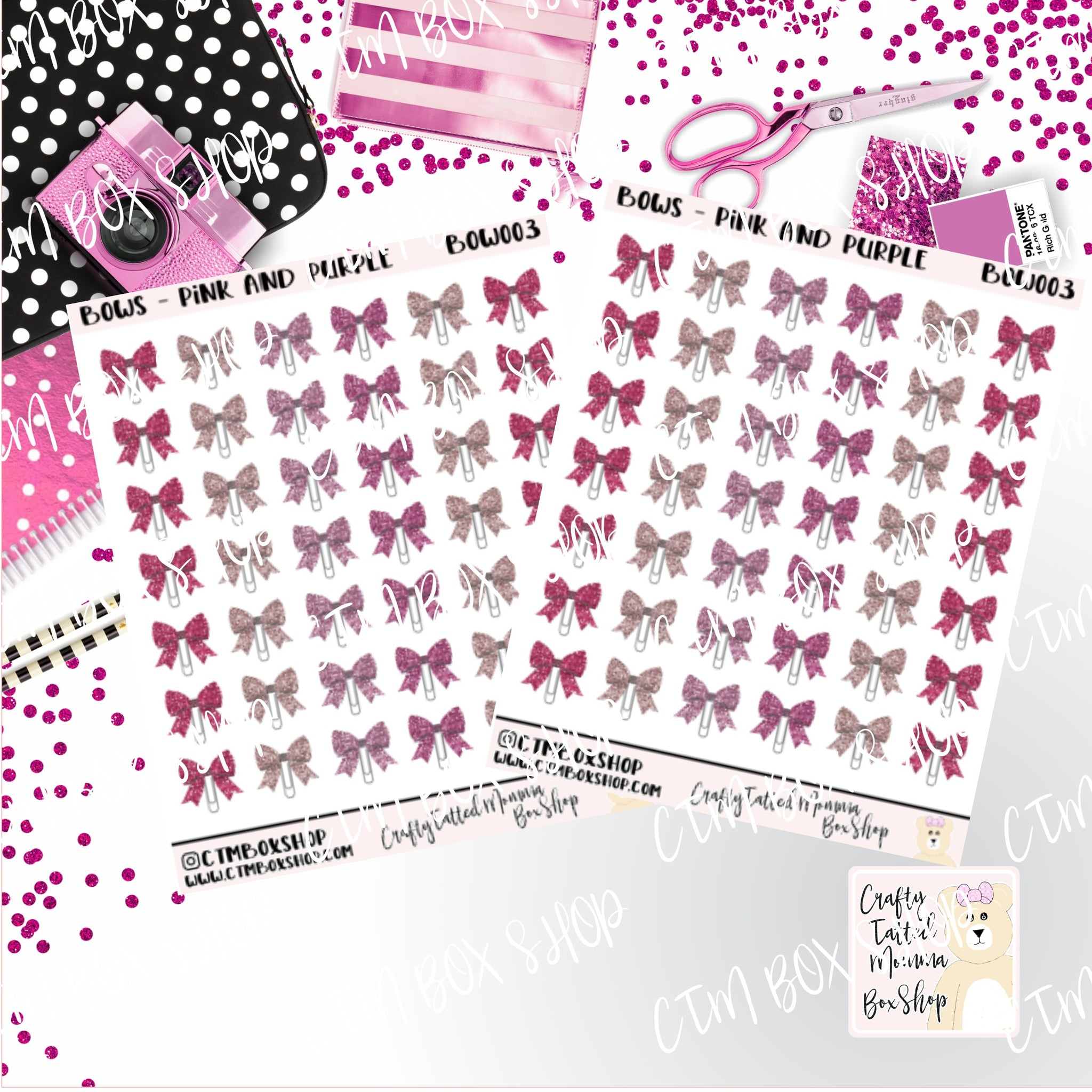 Pink and Purple Bow Clip Stickers   Bow Clip Stickers Planner Stickers    Stickers   Deco Stickers