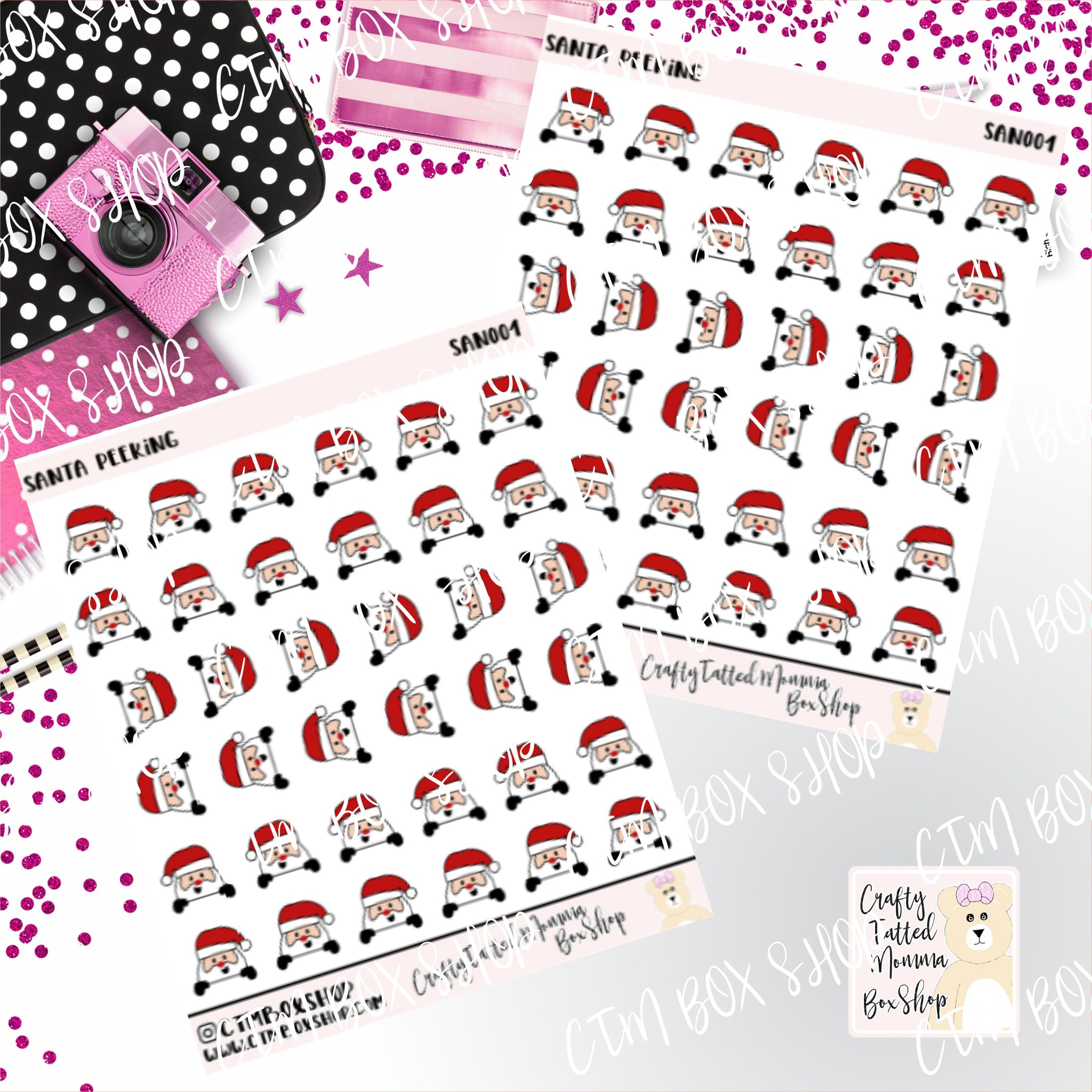 Santa Peeking  Stickers