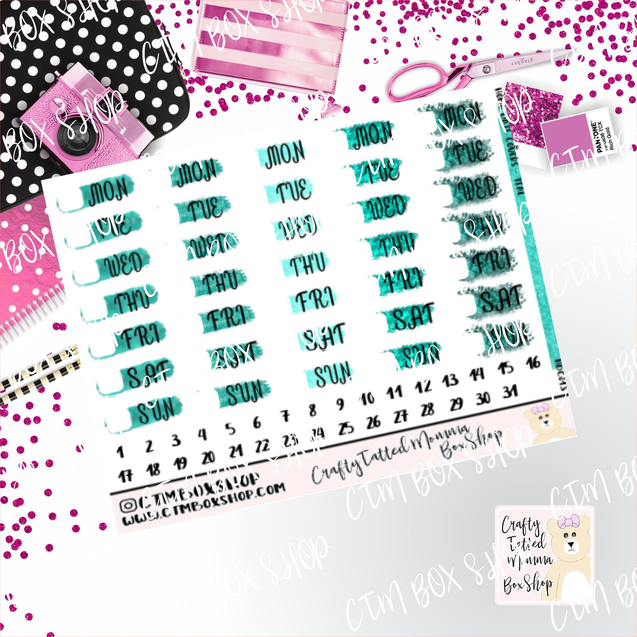 Teal Date Covers Stickers  Planner Stickers   Hobonichi  Techno Weeks   Stickers  Date Covers  Days of the Week