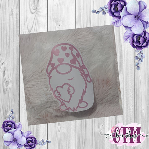 Valentine Gnome Vinyl Decal