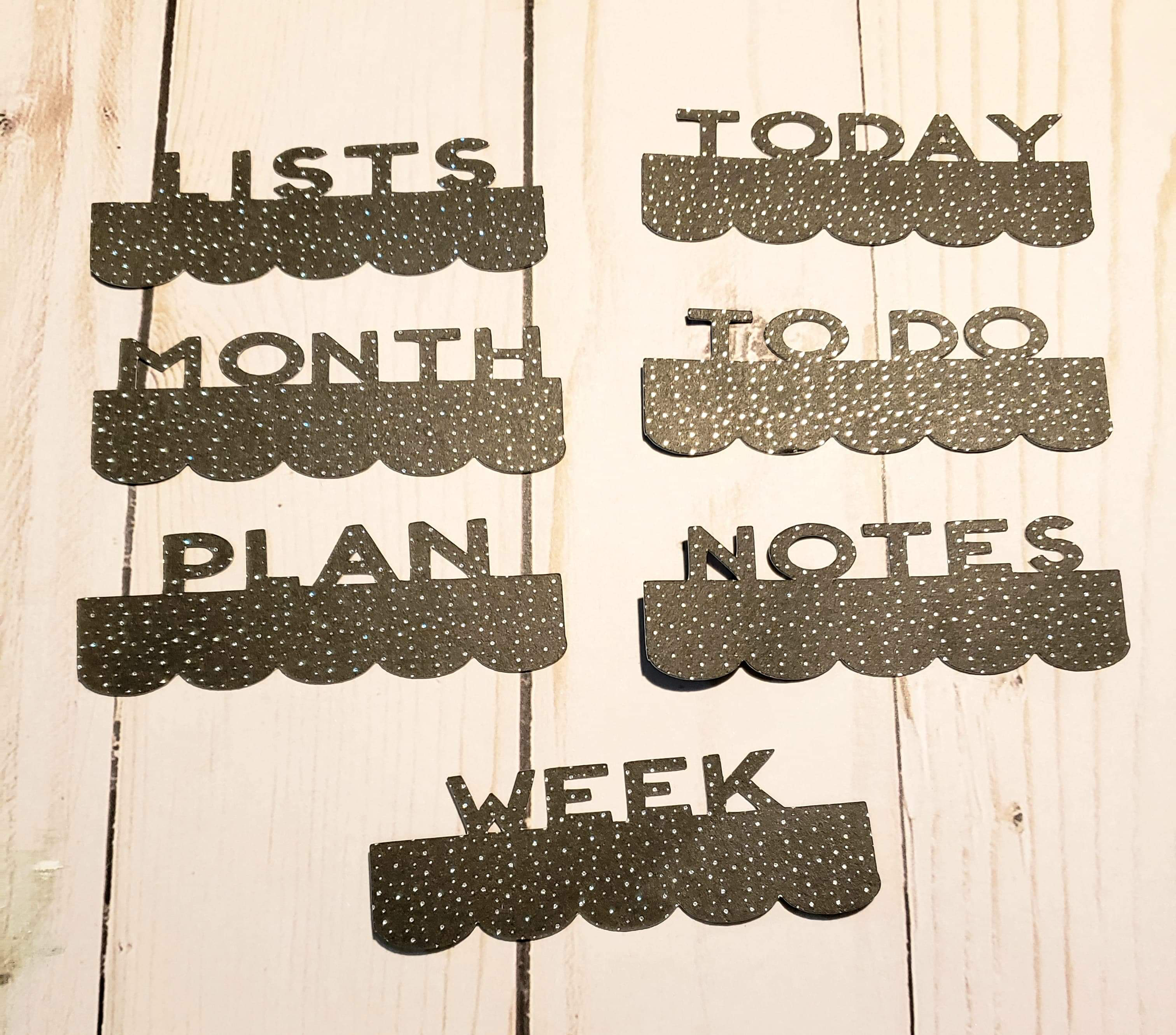 Page Toppers / Word Toppers / Page Marker or Dashboards Toppers / Word Tabs / Set of 7 Toppers / Black with Holo Dots