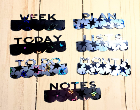 Page Toppers / Word Toppers / Page Marker or Dashboards Toppers / Word Tabs / Set of 7 Toppers / Blue Stars