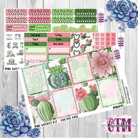 Cactus Rose Weekly Planner Sticker Kit   Mini Weekly sticker Kit   EC Stickers   Traveler's Notebook Stickers   Planner Stickers   Weekly Kit