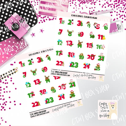 Christmas Countdown Stickers / Holiday Stickers / Character Stickers / Planner Stickers  / Functional Stickers /