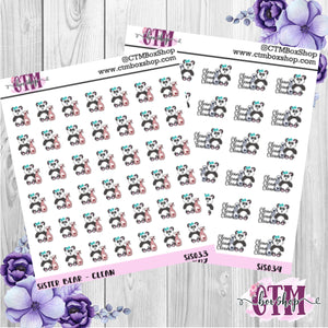 Hand Drawn Sister Bear Clean Stickers   Quarter Sheet   Planner Stickers Hand Drawn Stickers Character Stickers