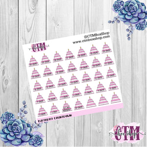 Birthday Countdown Stickers   Planner Stickers   Functional Stickers Deco Stickers