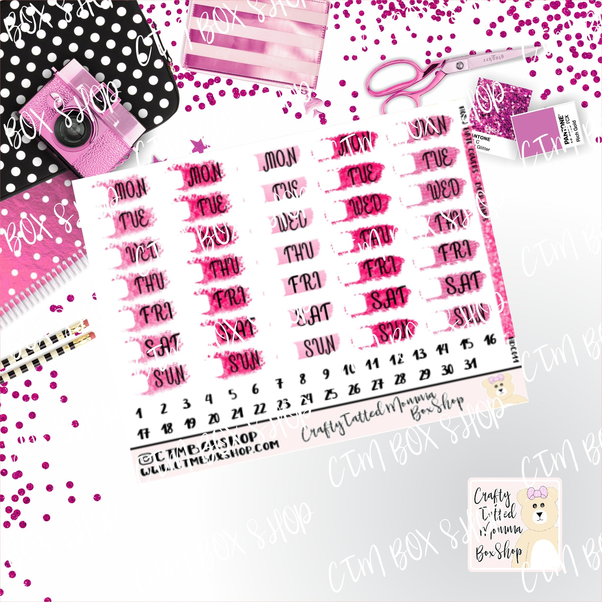 Deep Pink  Date Covers Stickers  Planner Stickers   Hobonichi  Techno Weeks   Stickers  Date Covers  Days of the Week