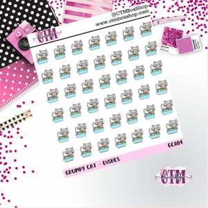 Grumpy Cat Washing Dishes  Grumpy Cat Stickers   Character Stickers   Planner Stickers   Functional Stickers   Deco Stickers