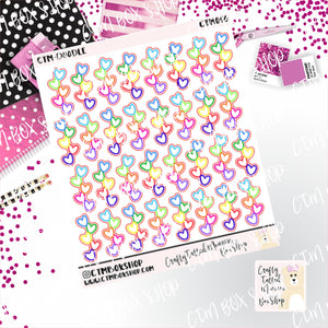 Doodle Heart Checklists Stickers,  checklist stickers, planner stickers, Travelers Notbook stickers, functional stickers