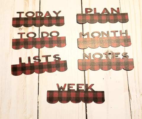 Page Toppers / Word Toppers / Page Marker or Dashboards Toppers / Word Tabs / Set of 7 Toppers / Dark Red Plaid