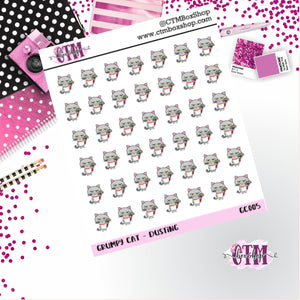 Grumpy Cat Dusting  Grumpy Cat Stickers   Character Stickers   Planner Stickers   Functional Stickers   Deco Stickers
