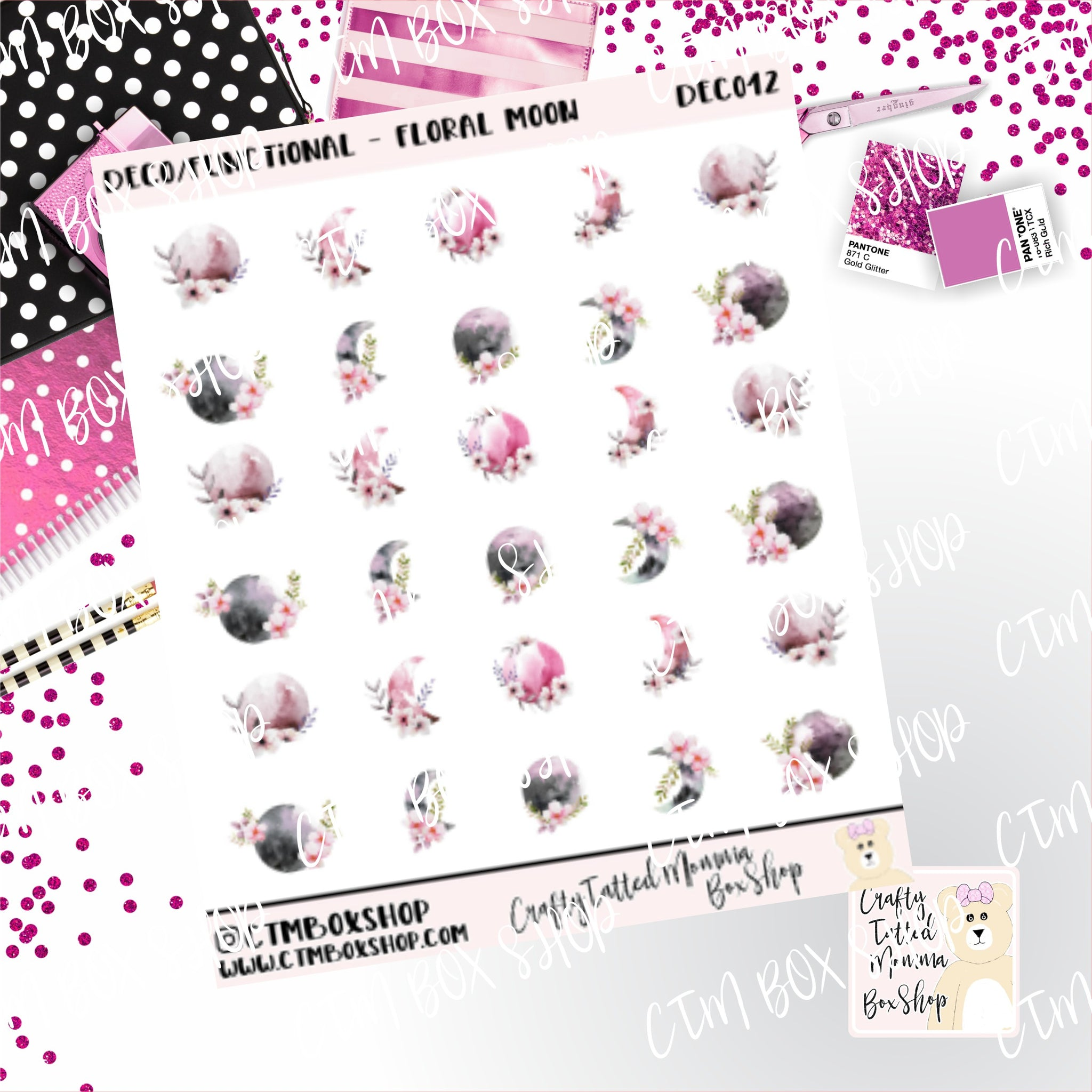 Floral Moon Stickers, Planner Stickers,  Functional Stickers   Deco Stickers