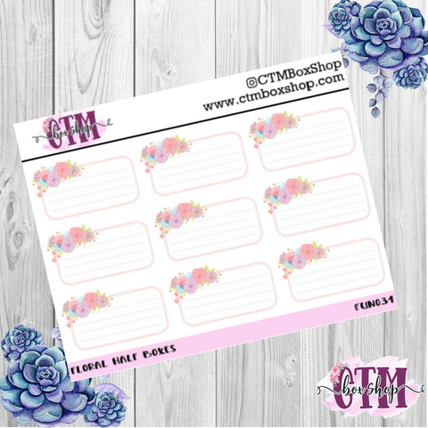 Floral Half Box Stickers