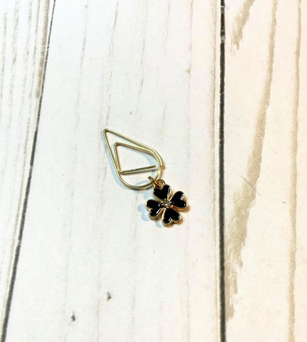 Black Flower Planner Clip / Planner Charm / TN Clip / TN Charm / Dangle Planner Clip / Dangle Planner Charm / Planner Accessory