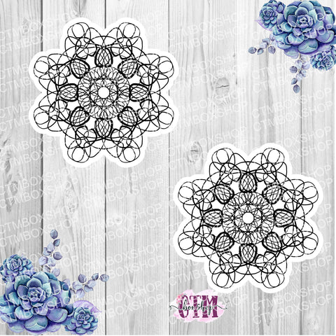 Foiled Hand Drawn Mandala Die Cut or Sticker, MANDALA3